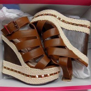 Vegan leather super cute studded wedge heels